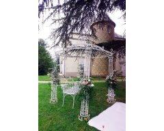 decoration exterieure tonnelle fleurs rubans