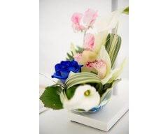 decoration table bubble fleurs blanc et bleu