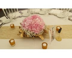 decoration table ronde fleurs hortensias rose