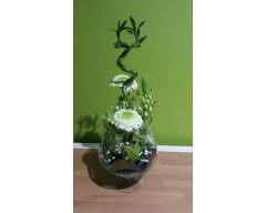 decoration table vase cognac fleurs blanche
