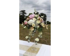decoration table vase martini gouttes roses blanche