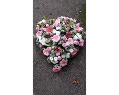 composition florale deuil coeur blanc et rose