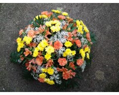 composition florale deuil coussin rond jaune orange