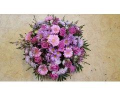 composition florale deuil coussin rond rose