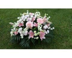 composition florale deuil coussin rond rose blanc
