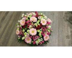 composition florale deuil coussin rond rose pale
