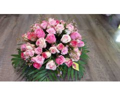 composition florale deuil coussin rond roses rose