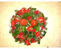 composition florale deuil coussin rond rouge