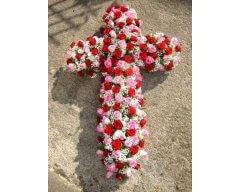 composition florale deuil croix rouge et rose