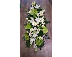 composition florale deuil raquette vert blanc